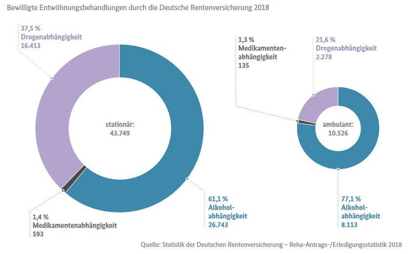 Zwei Kreisdiagramme zeigen die Anzahl an stationären und ambulanten Behandlungen im Jahre 2018.